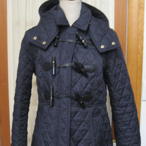 BURBERRY BRIT Navy Long Sleeves Quilted Coat Large